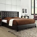 Francesca Black Bonded Leather Wingback Bed
