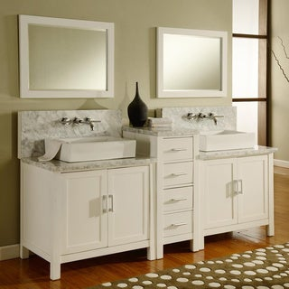 Direct Vanity 84-inch Horizon Pearl White/ Carrera Marble Double Bathroom Vanity Sink Console