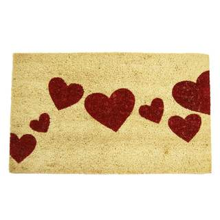 Red Hearts White/ Red Coir Doormat (1'6 x 2'6)