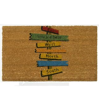 Rubber-Cal 'You Are Here' Coir Brown/Multicolored Outdoor Door Mat