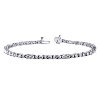 14k White Gold 5ct 4-prong Brilliant Cut Diamond Tennis Bracelet (F-G, SI1)