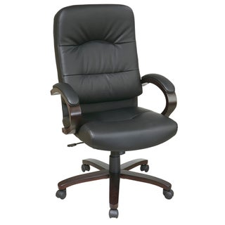 Office Star Products 'Work Smart' Black Eco Leather Contour High Seat and Back Executive Chair