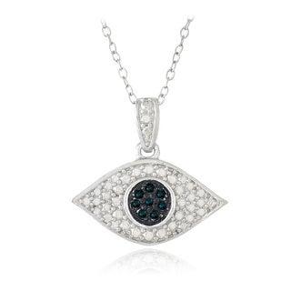 DB Designs Sterling Silver 1/10ct TDW Blue Diamond Evil Eye Necklace