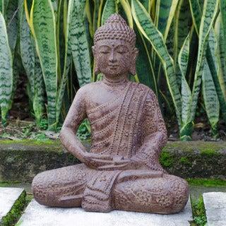 Volcanic Stone Buddha Lotus Robe Antique Brown Statue (Indonesia)