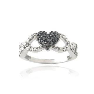 DB Designs Rhodium Plated 3/8ct TDW Black and White Diamond Infinity Heart Ring (I-J, I2-I3)