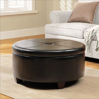 HomePop Winston Large Round Button-top Storage Ottoman