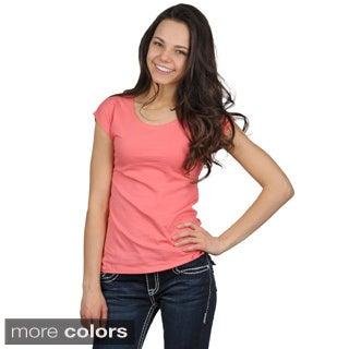 Fashion Corner Women's Scoop-Neck Layering Cap Sleeve Tee