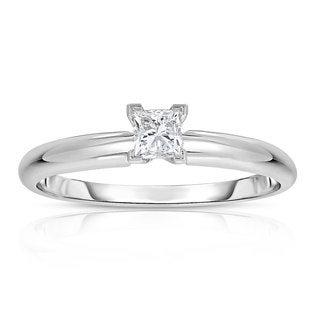 14k White Gold 1/4ct Princess Solitaire Diamond Ring (G-H, VS1-VS2)