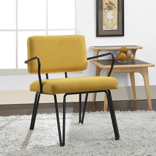 Palm springs yellow upholstery accent chair overstock for Metal living room chairs
