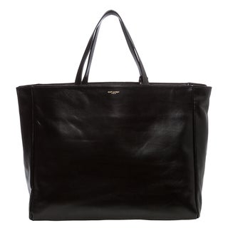Saint Laurent Black Reversible Leather and Suede Shopping Tote