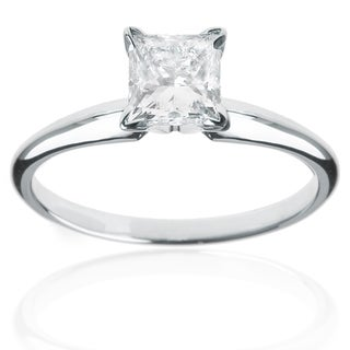 14k White Gold 1/2ct Princess Solitaire Engagement Ring (G-H, VS1-VS2)