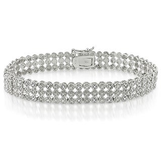 Miadora Sterling Silver 1ct TDW Diamond Triple-StrandBracelet (I-J, I3)