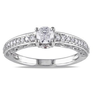 L'Amour Enrose by Miadora 14k White Gold 1/2ct TDW Diamond Engagement Ring (G-H, I2-I3)