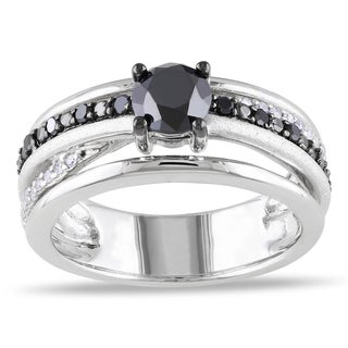 Miadora Sterling Silver 1ct TDW Black and White Diamond Ring