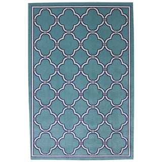 Indoor/Outdoor Networked Sky Blue Rug (8' x 10')