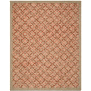 Martha Stewart Blossom Lattice Quince Blossem Red Wool Rug (7'9 x 9'9)