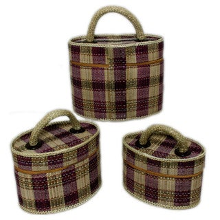 Set of 3 Oval Palm Makeup Cases (Indonesia)