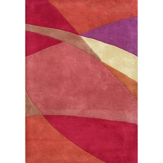 Handmade Geo Metro Red Blend Wool Rug (9' x 12')