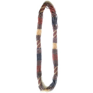 Blue Pink and Gold Zulu Long Beaded Necklace (South Africa)