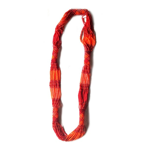 Zulu Long Woven Glass Orange Beaded Necklace (South Africa)