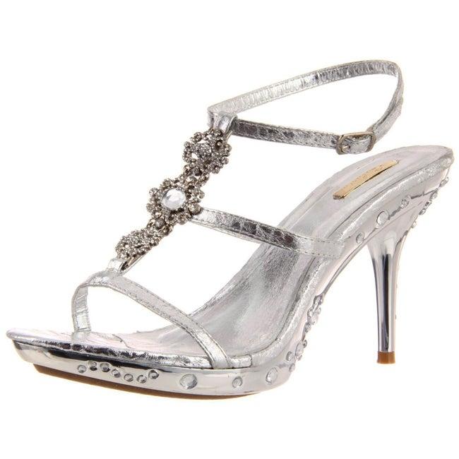Celeste Women's 'Gusi-01' Silver T-Strap Sandals