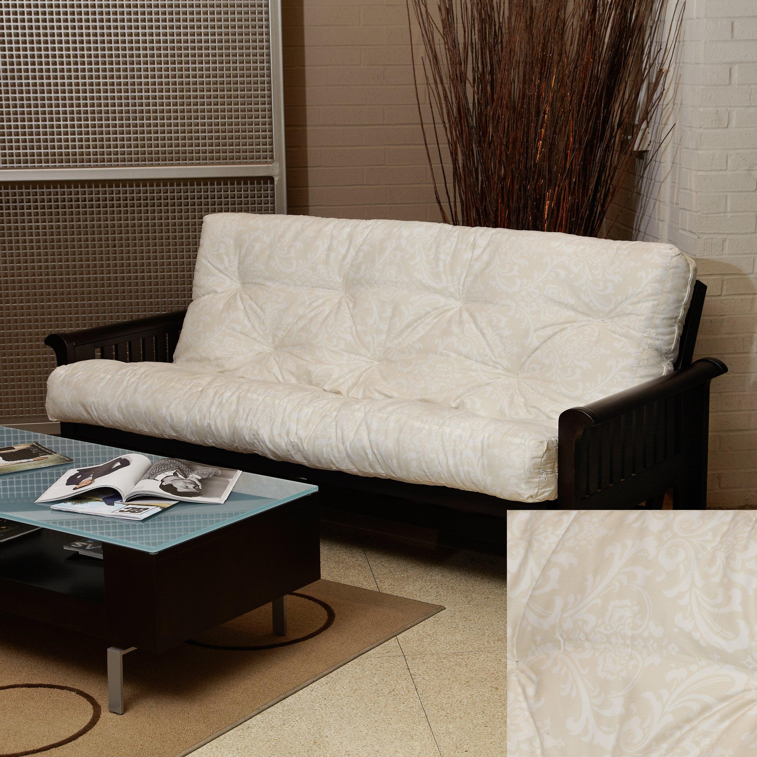 Beige Damask Full-Size 8-inch Futon Mattress