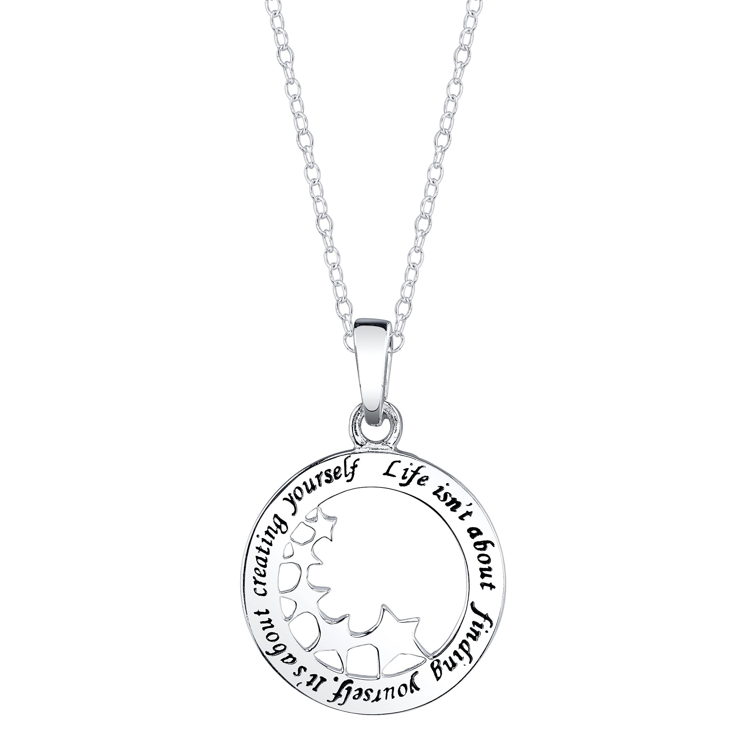 Sterling Silver 'Life isn't about finding yourself. It's about creating yourself' Necklace
