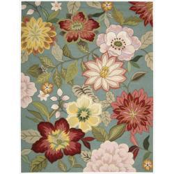 Nourison Hand-Hooked Fantasy Blue Floral Rug (5' x 7'6