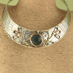 Handcrafted Textured Brass Copper Spring Sun Choker (India)
