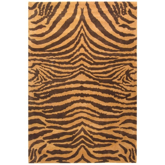 Safavieh Handmade Tiger Beige/ Brown New Zealand Wool Rug (9'6 x 13'6)