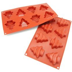 Freshware 8-Cavity Christmas Tree Silicone Mold/ Baking Pan (Pack of 2)