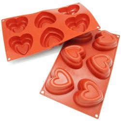 Freshware 6-Cavity Double Heart Muffin Silicone Mold/ Baking Pan (Pack of 2)