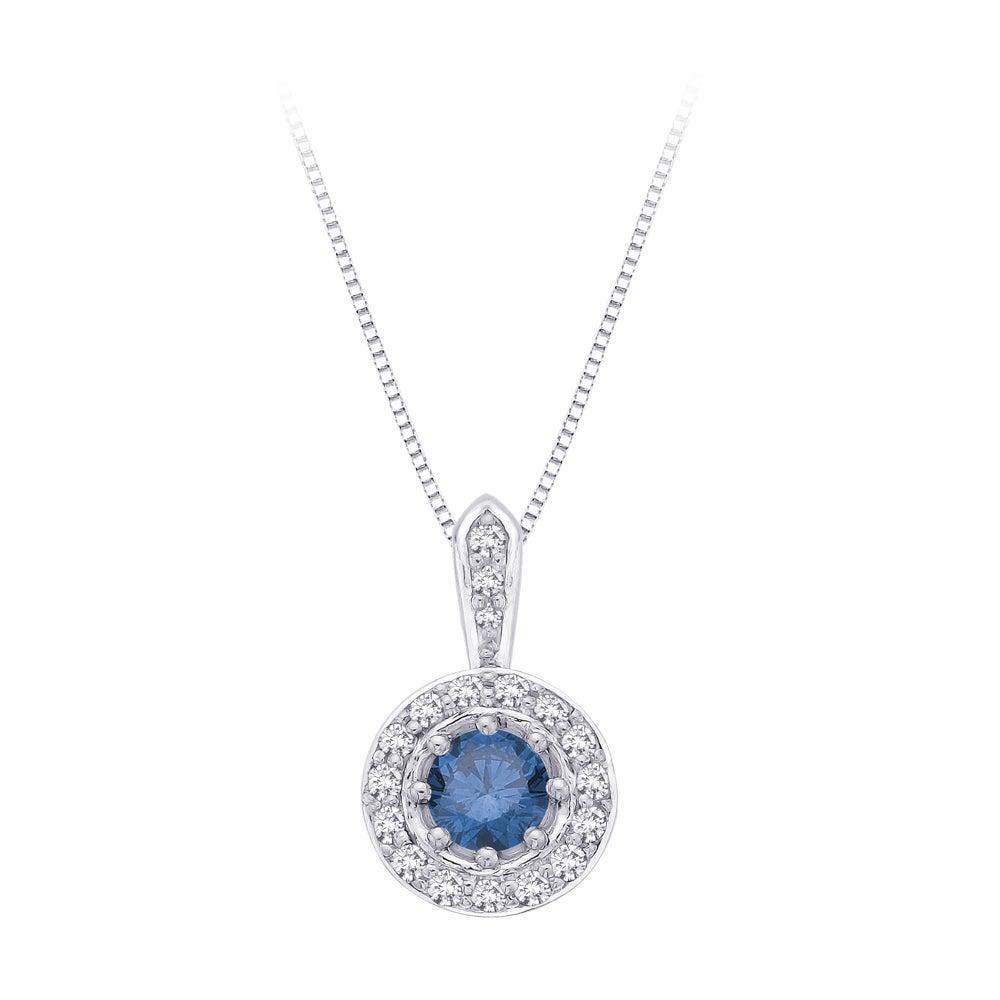 14k White Gold 1/2ct TDW Center Blue and White Diamond Pendant (GH - I1,I2)