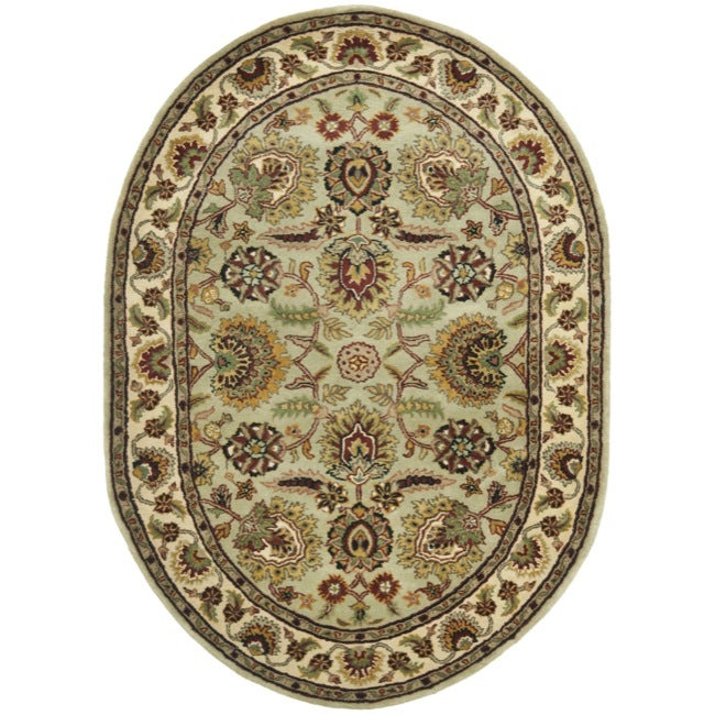 Safavieh Handmade Classic Light Green/ Ivory Wool Rug (7'6 x 9'6 Oval)