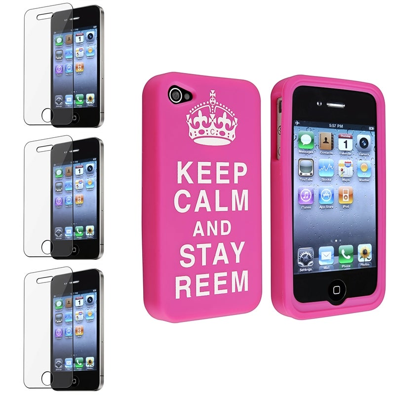 Pink Silicone Case/ Screen Protectors for Apple iPhone 4/ 4S