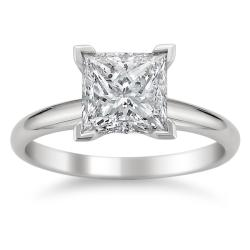 14k White Gold 3ct TDW Princess Diamond Solitaire Ring (J, I1)