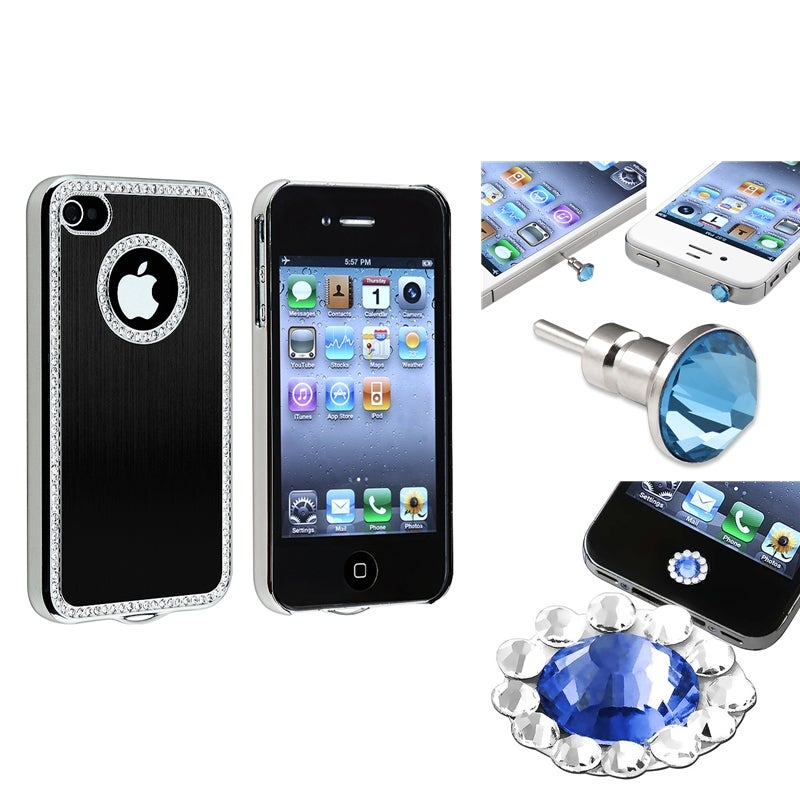 Bling Black Case/ Home Button Sticker/ Dust Cap for Apple iPhone 4/ 4S