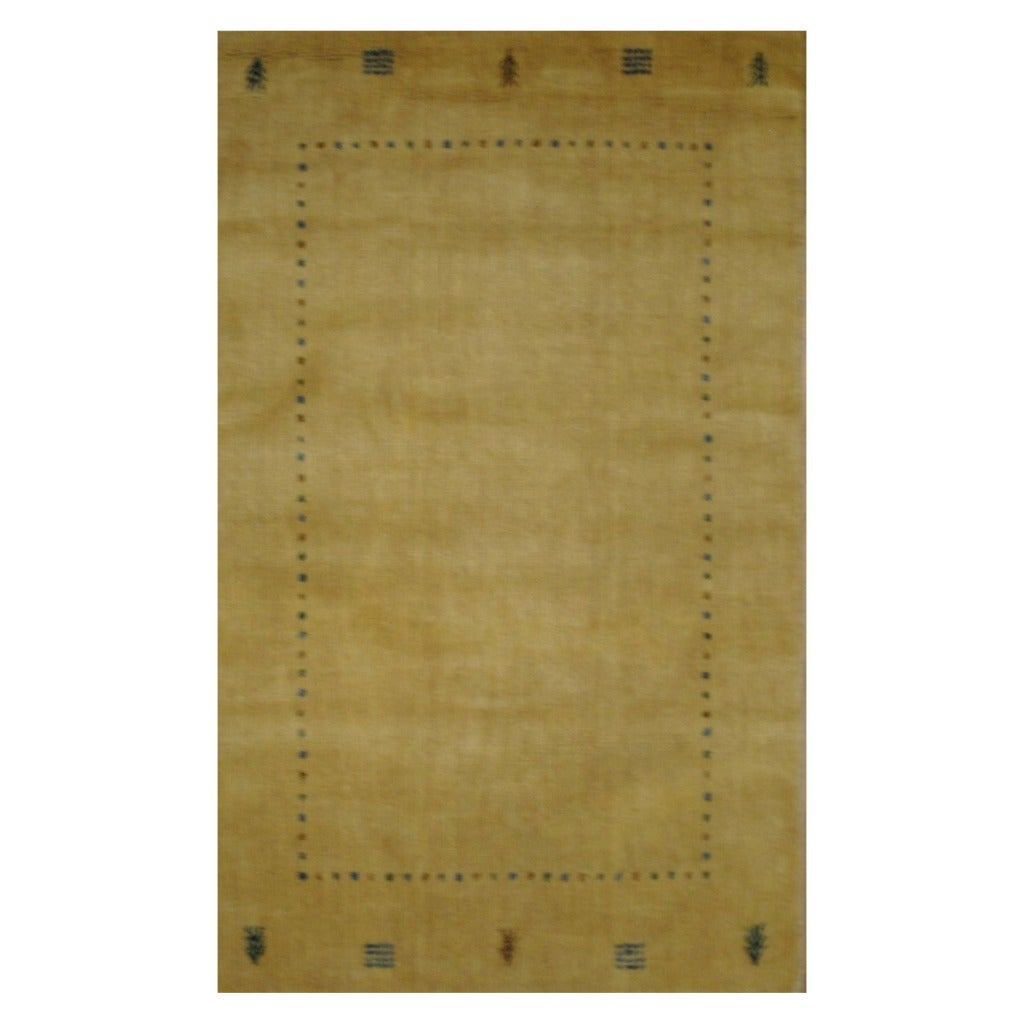 Indo Hand-loomed Beige/ Blue Gabbeh Wool Rug (3' x 5')