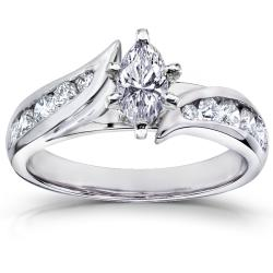 14k White Gold 1ct TDW Marquise Diamond Engagement Ring (H-I, I1-I2)
