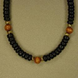 Jewelry by Dawn Black And Brown Wood Men's Necklace