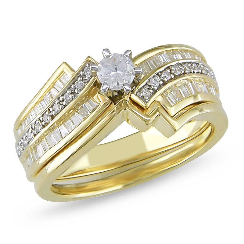 Miadora 10k Yellow Gold 1/2ct TDW Diamond Bridal Ring Set (H-I, I2-I3)