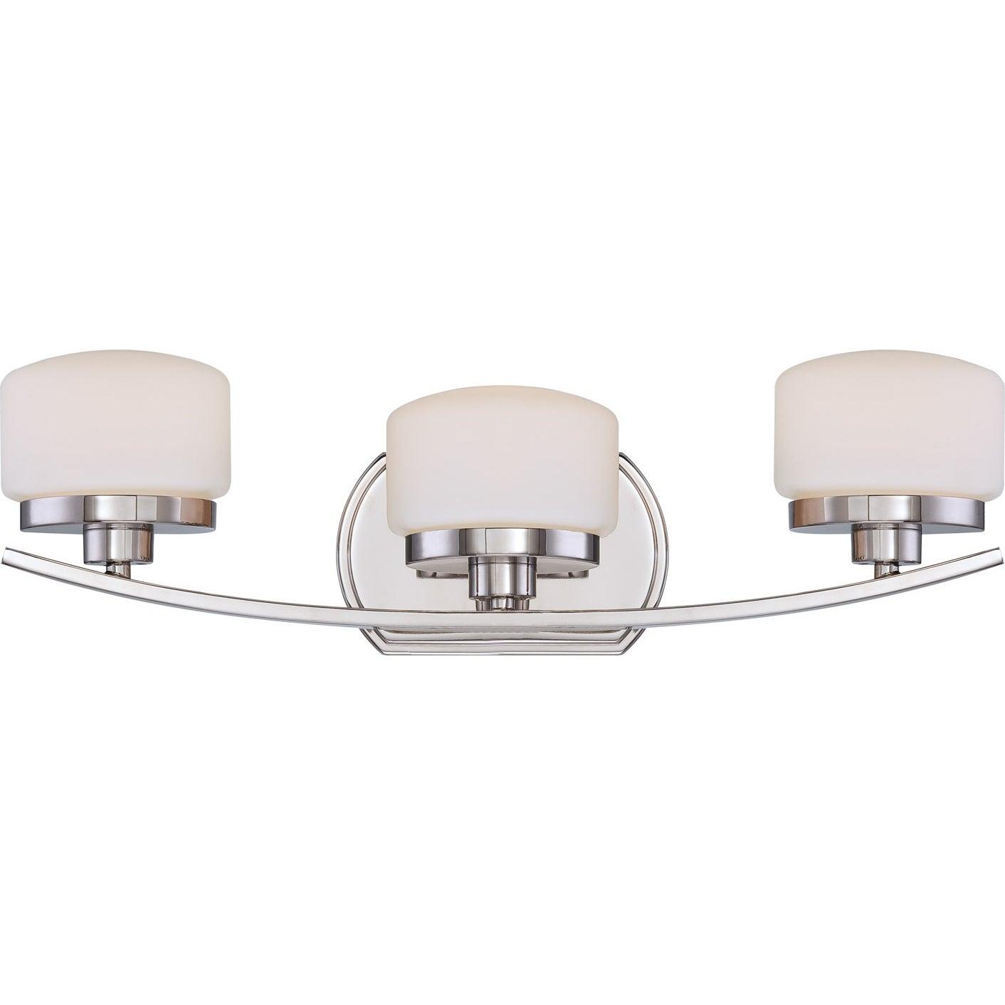 Nuvo 'Austin' 3-light Polished Nickel Vanity Fixture
