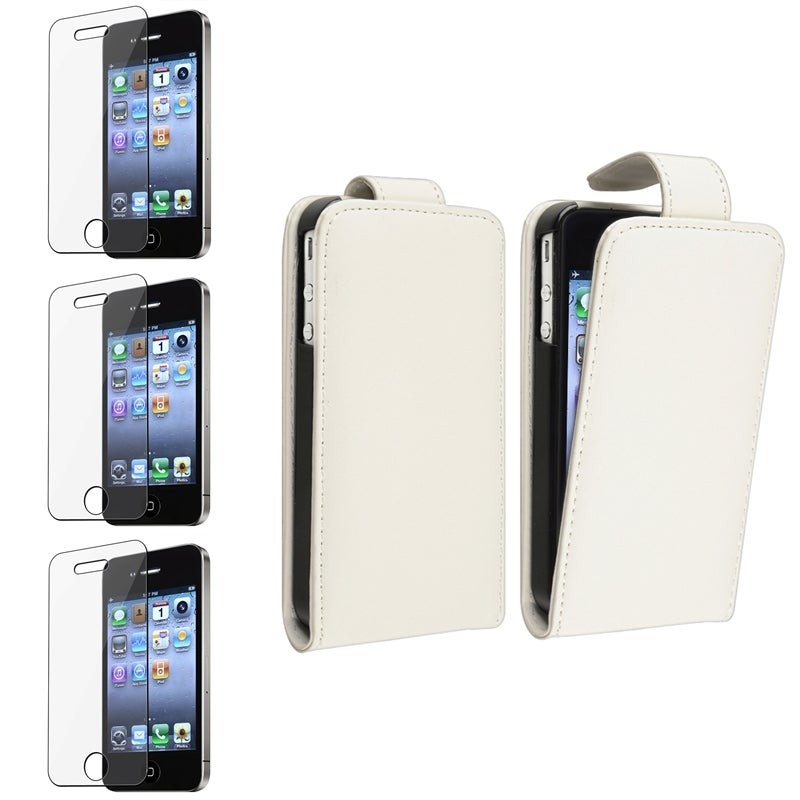 White Leather Case/ Screen Protector for Apple® iPhone 4/ 4S