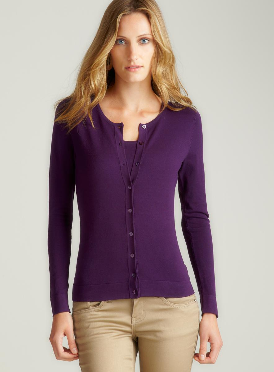 August Silk L/S Button Front Cardigan