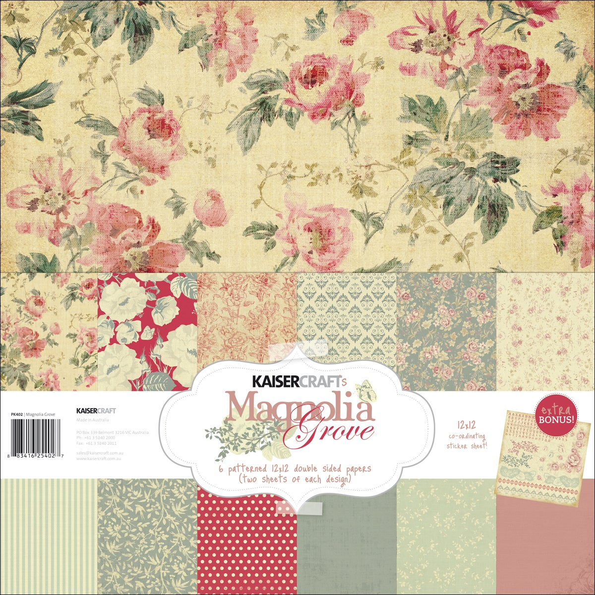 "Magnolia Grove Paper Pack 12""X12""-12 Double-Sided Papers + Stickers Sheet"