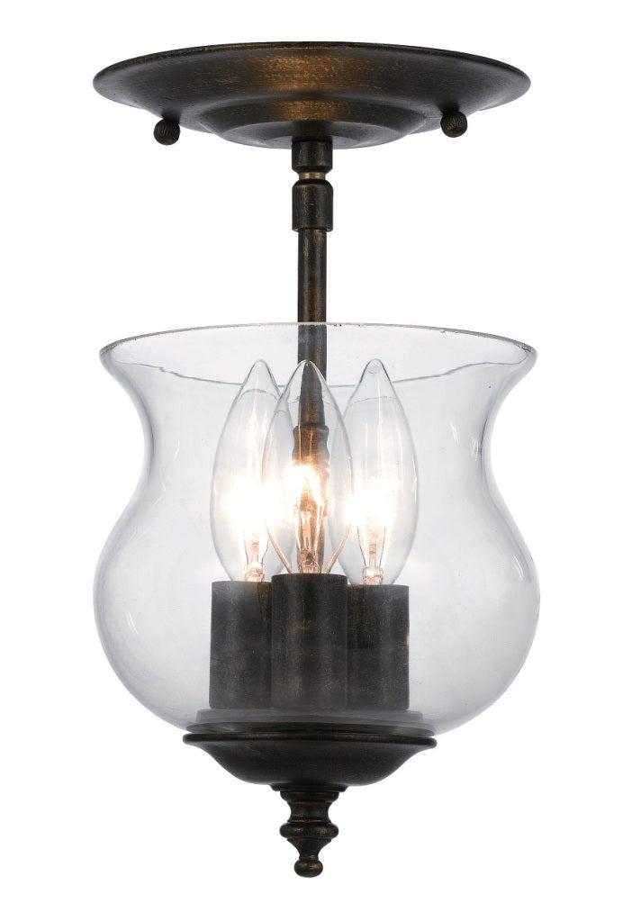 Ascott 3 light English Bronze Semi-flush Light Fixture