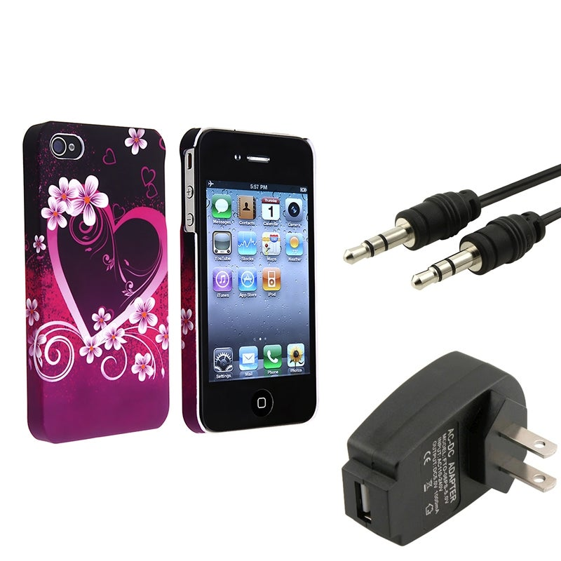 Heart with Flower Case/ Cable/ Travel Charger for Apple iPhone 4/ 4S