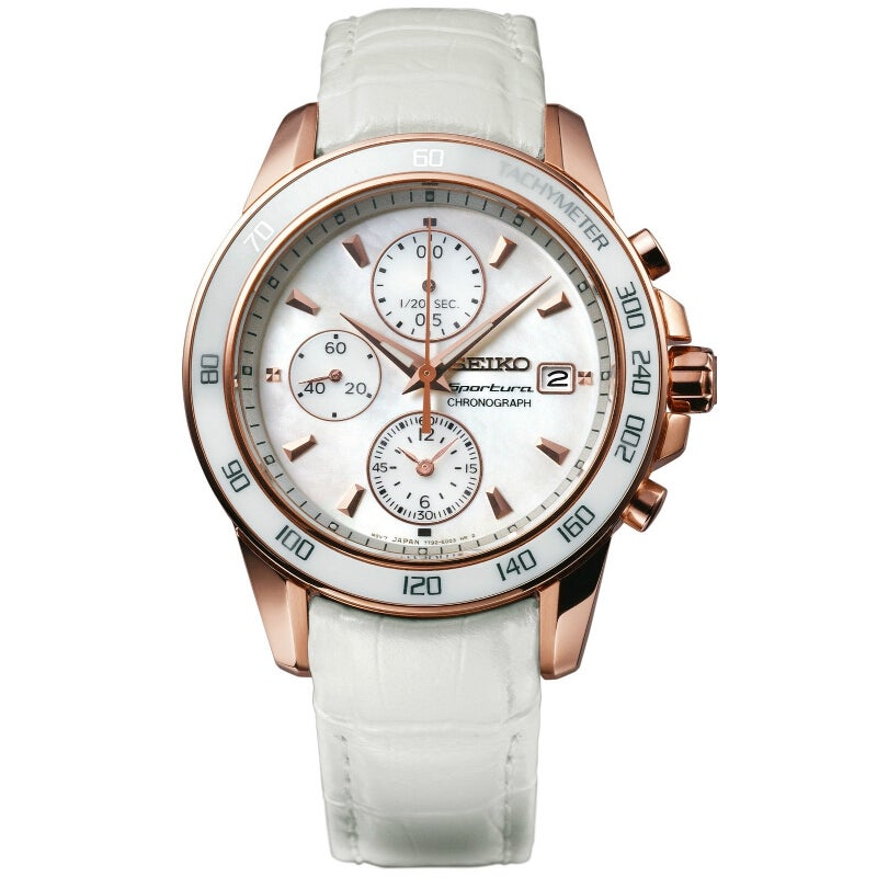 Seiko Women's Sportura Chrono Mother Of Pearl Gold Watch