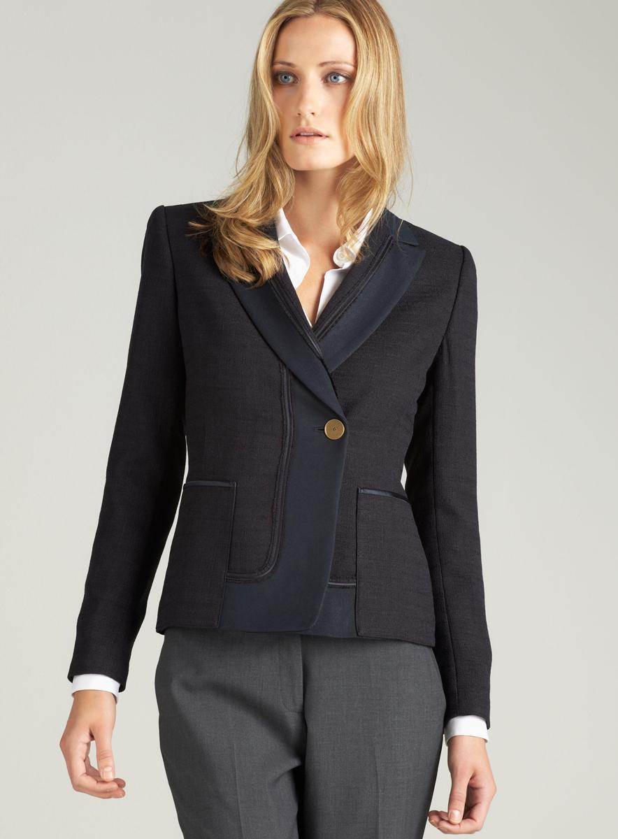 T. Tahari Crepe Tweed Jacket