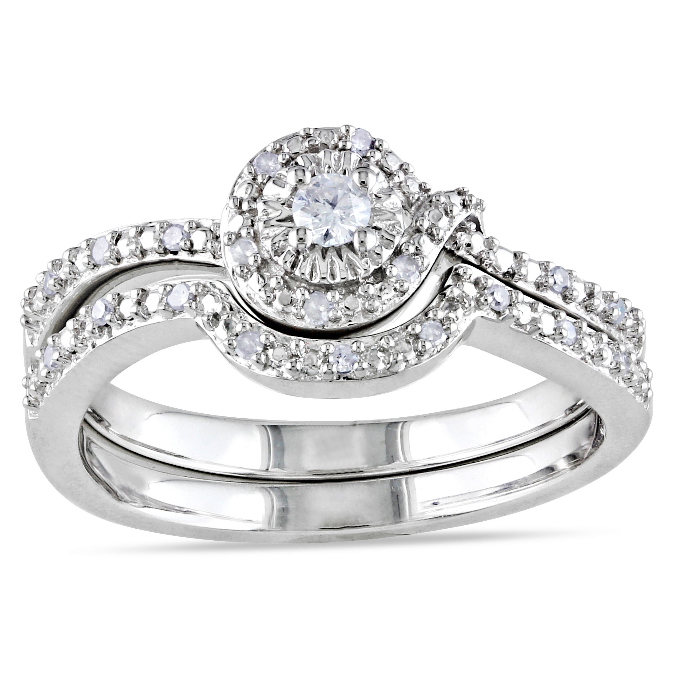 Miadora Sterling Silver 1/7ct TDW Diamond Bridal Halo Ring Set (H-I, I2-I3)